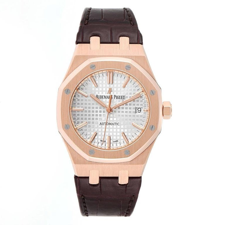 Audemars Piguet Royal Oak 37mm Midsize Rose Gold Mens Watch 15450OR. Automatic self-winding movement. Brushed with polished bevel edges 18K rose gold case 37.0 mm in diameter. Case thickness 9.80mm. Exhibition transparent sapphire crystal case back.