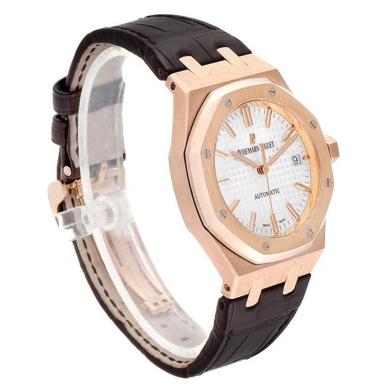 Audemars Piguet Royal Oak Midsize Rose Gold Men's Watch 15450OR In Excellent Condition For Sale In Atlanta, GA