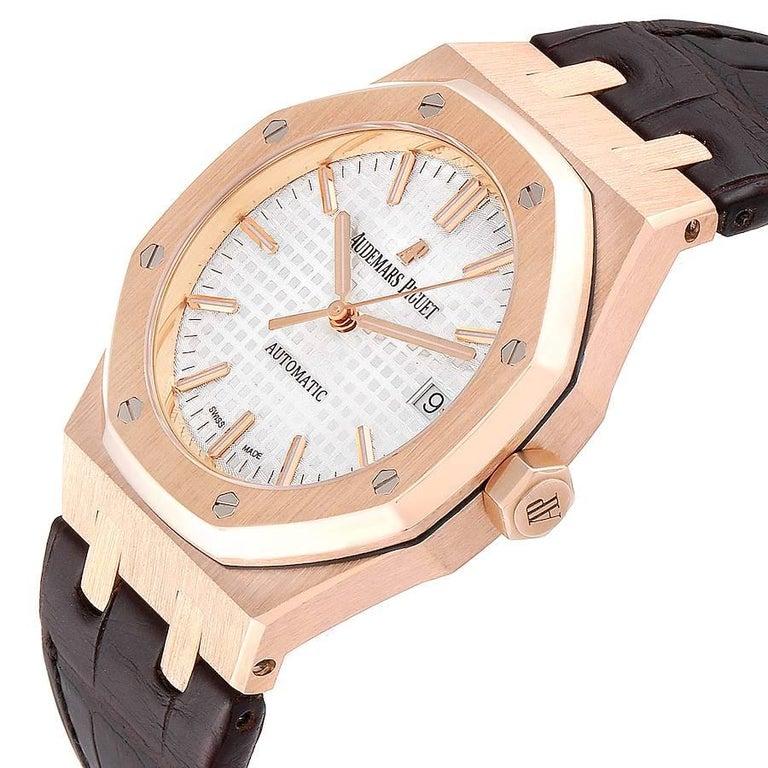 Audemars Piguet Royal Oak Midsize Rose Gold Men's Watch 15450OR For Sale 2