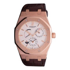 Audemars Piguet Royal Oak Dual Time 18 Karat Rose Gold Silver Dial