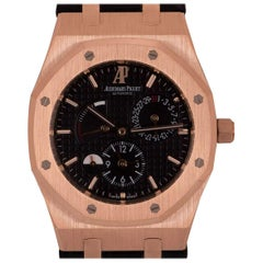 Audemars Piguet Royal Oak Dual Time Gents 18 Karat Rose Gold Black Dial