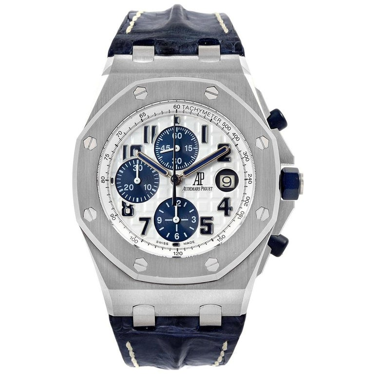 Audemars piguet royal oak offshore navy blue chronograph watch 26170st for sale at 1stdibs for Royal oak offshore navy