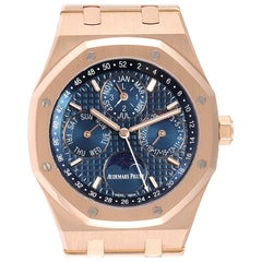 Audemars Piguet Royal Oak Perpetual Calendar Blue Dial Rose Gold Watch 26574OR