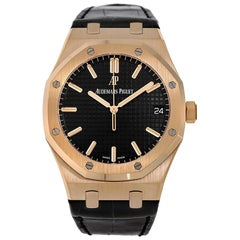 Audemars Piguet Royal Oak Rose Gold Black Strap Watch 15500OR.OO.D002CR.01