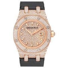 Audemars Piguet Royal Oak Rose Gold Diamond Ladies Watch 67625OR Box Papers