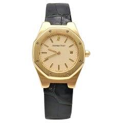 Audemars Piguet 'Royal Oak' Yellow Gold Leather Strap Watch