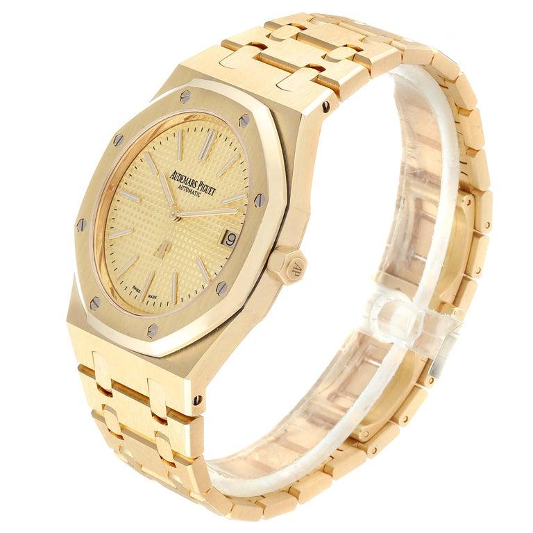 Audemars Piguet Royal Oak Yellow Gold Men's Watch 15202BA Box Papers In Excellent Condition For Sale In Atlanta, GA