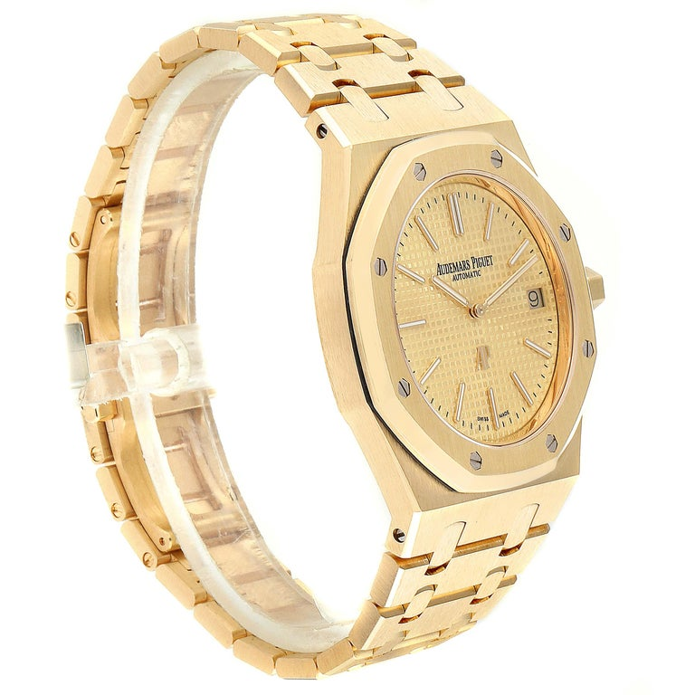 Audemars Piguet Royal Oak Yellow Gold Men's Watch 15202BA Box Papers For Sale 1