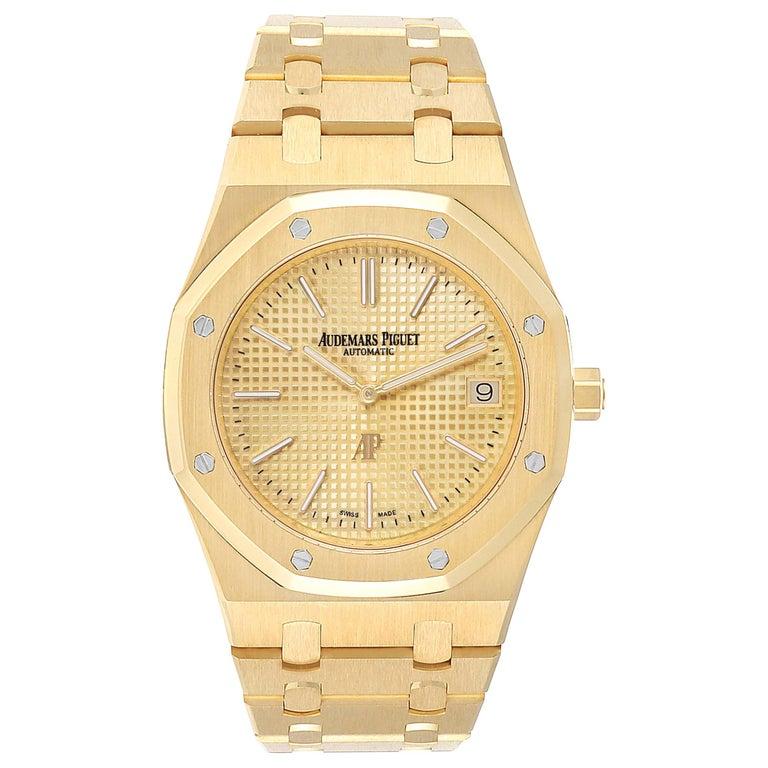 Audemars Piguet Royal Oak Yellow Gold Men's Watch 15202BA Box Papers For Sale