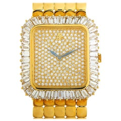Audemars Piguet Vintage 18 Karat Yellow Gold Baguette Diamond Bezel Watch