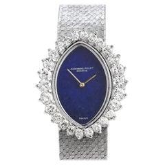 Audemars Piguet Vintage Diamond LAPIS 18 Karat White Gold Ladies Watch