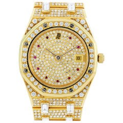 Audemars Piguet Vintage Royal Oak Yellow Gold Diamond and Ruby Watch circa 1980s