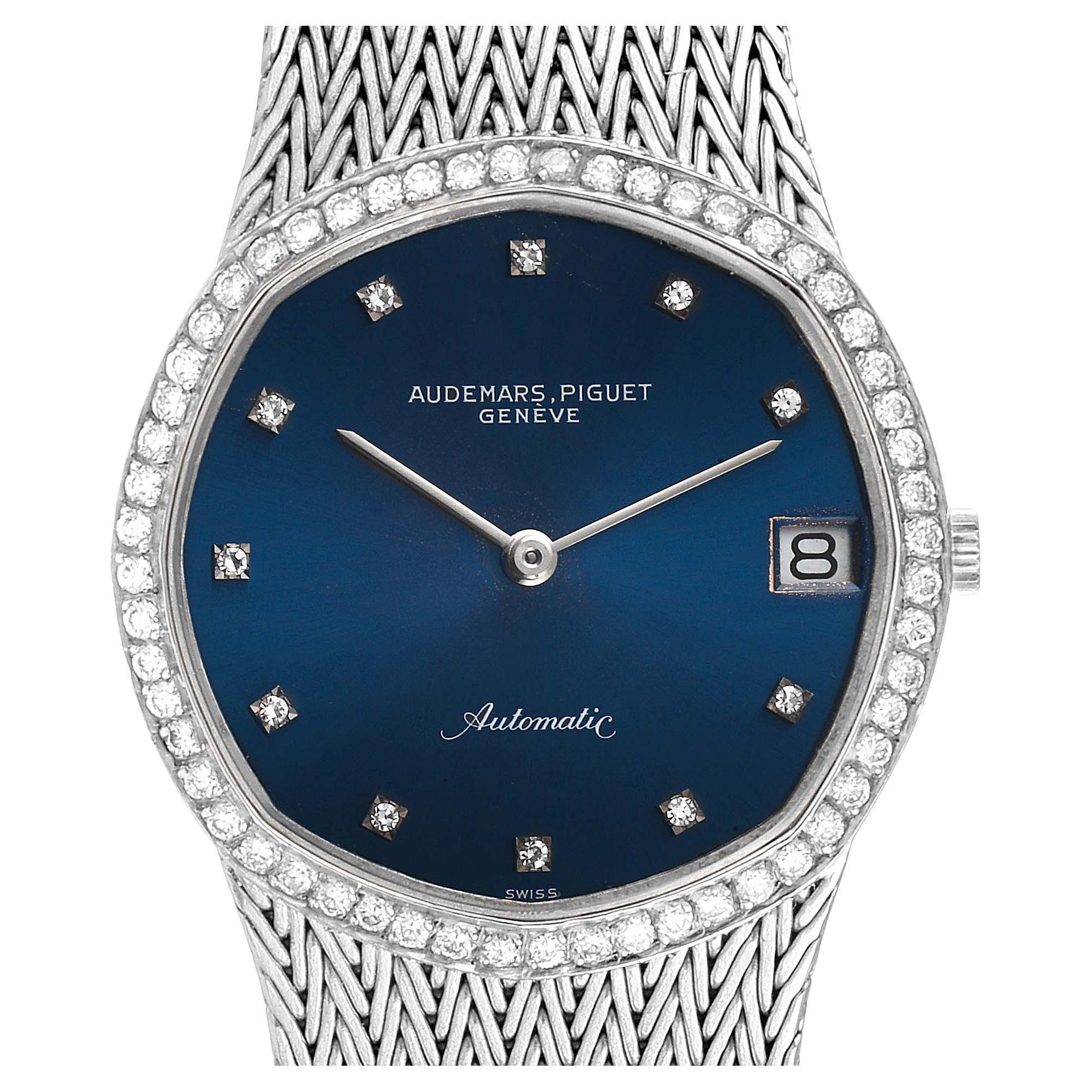 Audemars Piguet White Gold Blue Dial Diamond Vintage Mens Watch