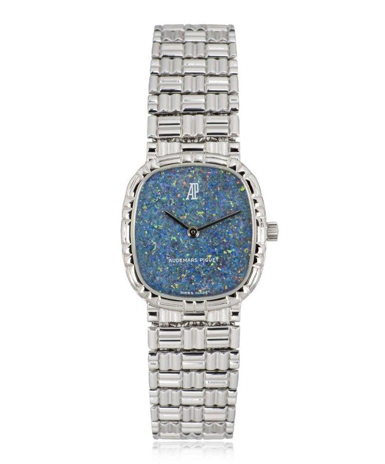 Uncut Audemars Piguet White Gold Blue Opal Dial Cocktail Dress Watch For Sale