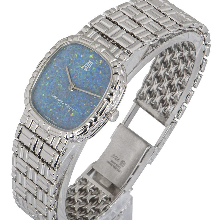 Audemars Piguet White Gold Blue Opal Dial Cocktail Dress Watch In Excellent Condition For Sale In London, GB