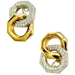 Audemars Piquet Royal Oak 18 Karat Gold and Diamond Octagonal Link Earrings