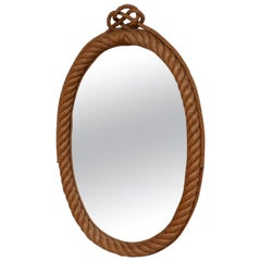 Audoux et Minet French Mid-Century Rope Oval Mirror