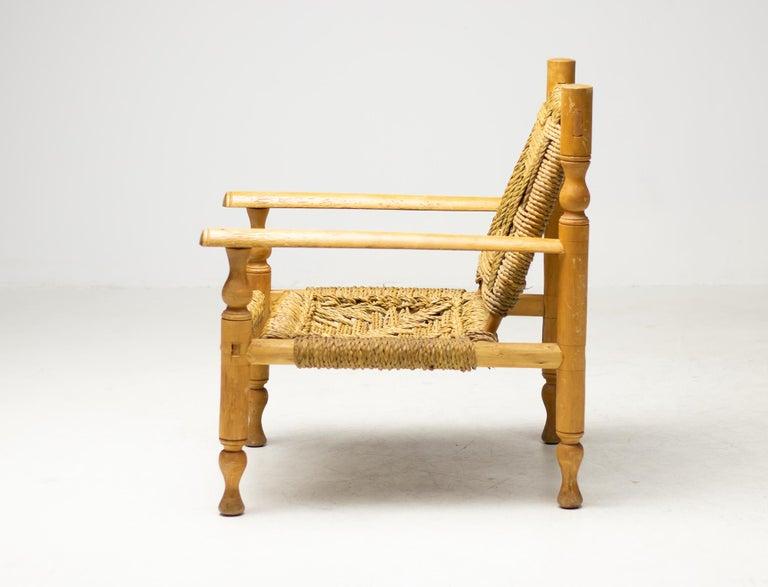 Beech Audoux-Minet Armchair For Sale