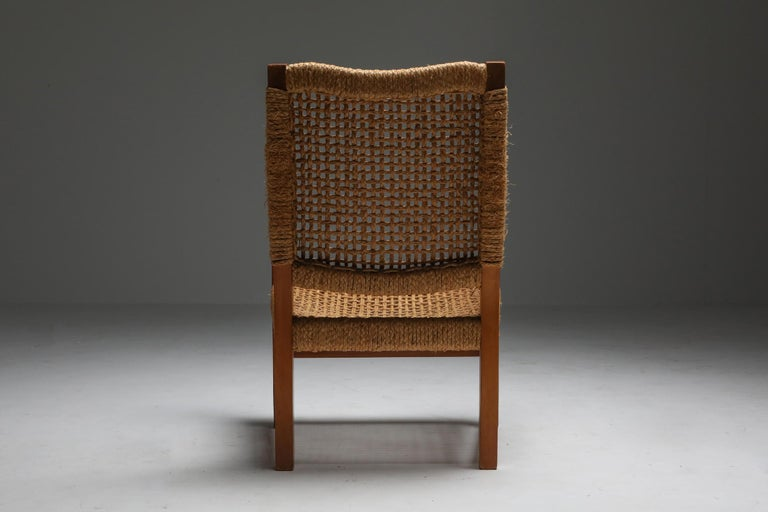 Audoux Minet Armchair in Beech and Cord For Sale 4