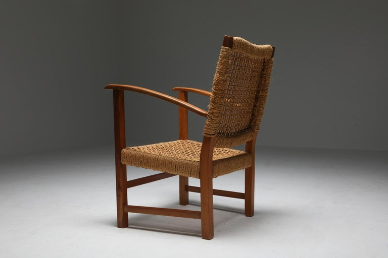 Audoux Minet Armchair in Beech and Cord For Sale 5