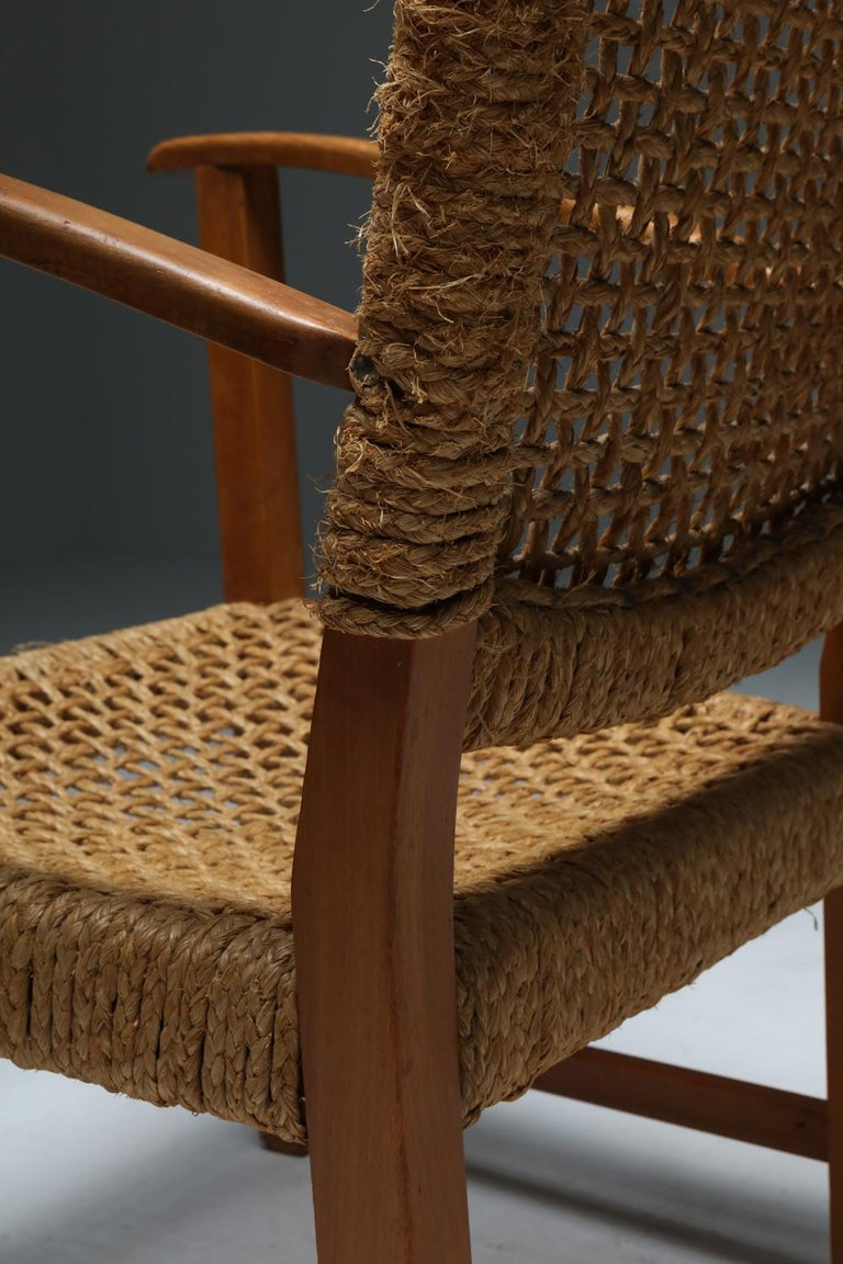 Audoux Minet Armchair in Beech and Cord For Sale 7