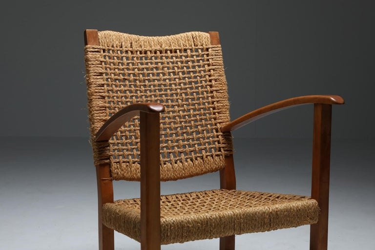 Mid-Century Modern Audoux Minet Armchair in Beech and Cord For Sale