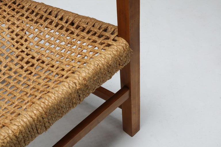 French Audoux Minet Armchair in Beech and Cord For Sale