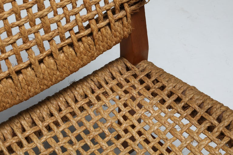 Audoux Minet Armchair in Beech and Cord In Good Condition For Sale In Antwerp, BE