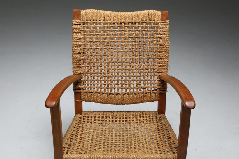 Mid-20th Century Audoux Minet Armchair in Beech and Cord For Sale