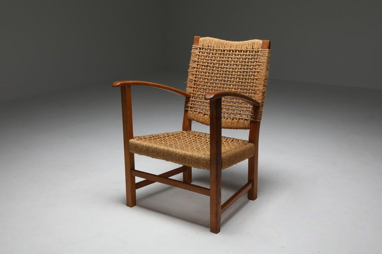 Audoux Minet Armchair in Beech and Cord For Sale 1