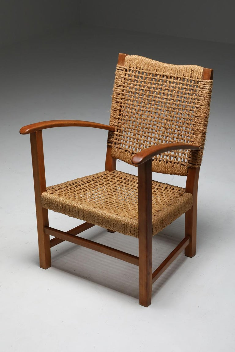 Audoux Minet Armchair in Beech and Cord For Sale 2