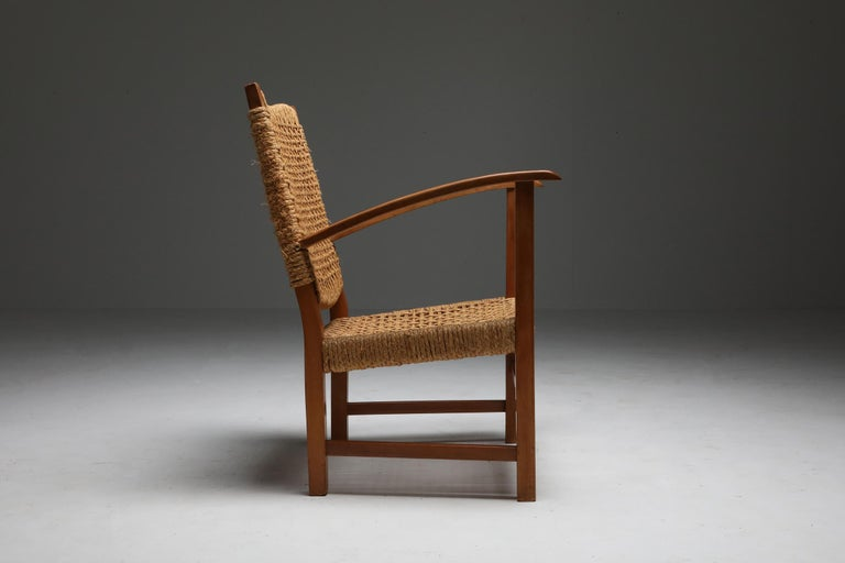 Audoux Minet Armchair in Beech and Cord For Sale 3