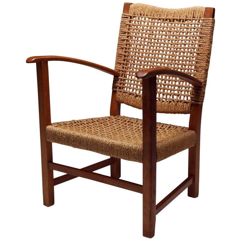 Audoux Minet Armchair in Beech and Cord For Sale