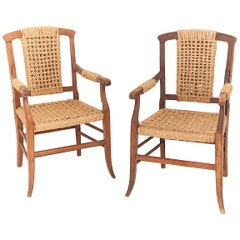 Audoux Minet Attributed, Pair of Oak and Rope Armchairs, France, 1950