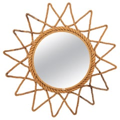 Audoux Minet Attributed Round Starburst Mirror
