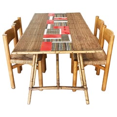 Audoux Minet Dinning Table, Bamboo, Glazed Ceramic Tiles Roger Capron, 1950