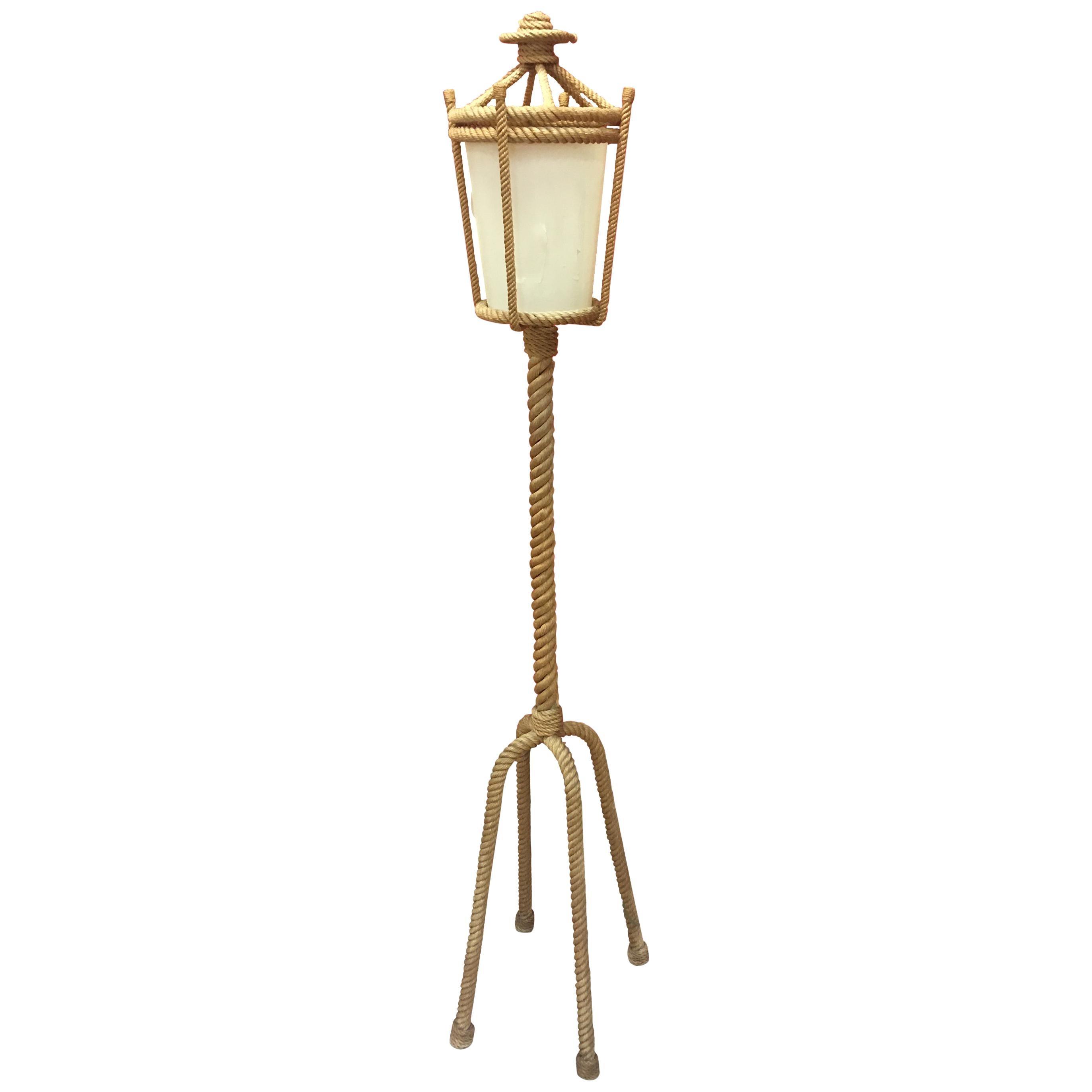 Audoux Minet Four-Legged Rope Floor Lamp, France, 1960s