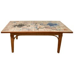 Audoux-Minet Glazed Tile Top Table en Céramique, France, circa 1960s