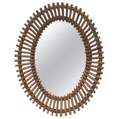 Audoux Minet, Interesting Oval Rattan Mirror, circa 1950