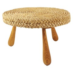 Audoux Minet Midcentury Coffee or Side Table with Woven Rush Top
