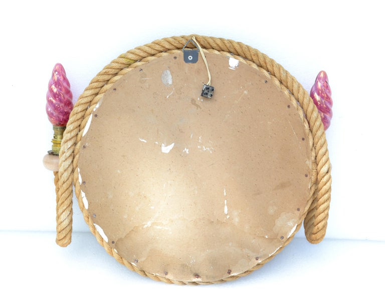 Audoux & Minet Nautical 2 Light Sconce with Round Mirror France 1960 Midcentury For Sale 5