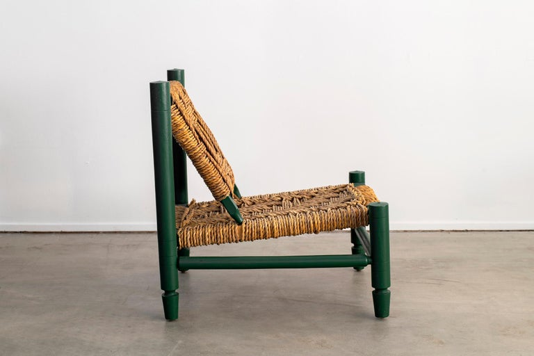 French Audoux Minet Rope Chair For Sale
