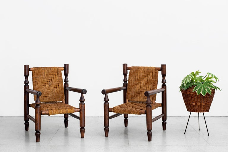 French Audoux Minet Rope Chairs For Sale