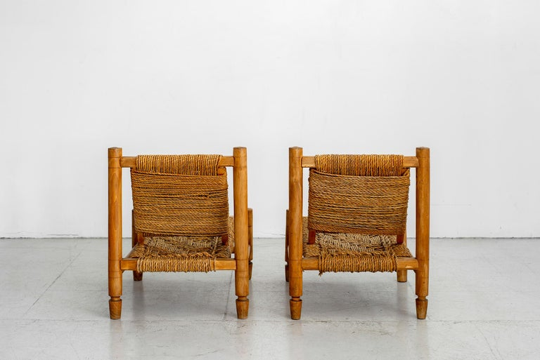Mid-20th Century Audoux Minet Rope Chairs For Sale