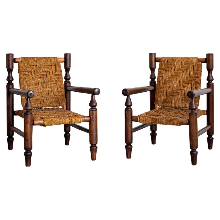 Audoux Minet Rope Chairs For Sale