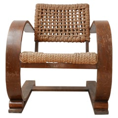 Audoux-Minet Rope Mid-Century French Bentwood Armchair