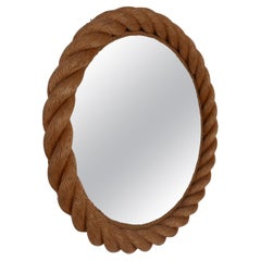 Audoux-Minet Ropework French Mid-Century Circular Mirror