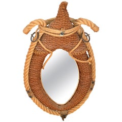 Audoux Minet Style Beige Oval Wall Mirror Nautical French Provincial Rope & Jute