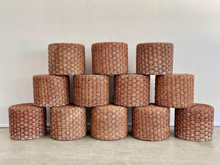 French rope stools in the style of Audoux Minet, circa 1950.  Wonderful patina - multiple available.