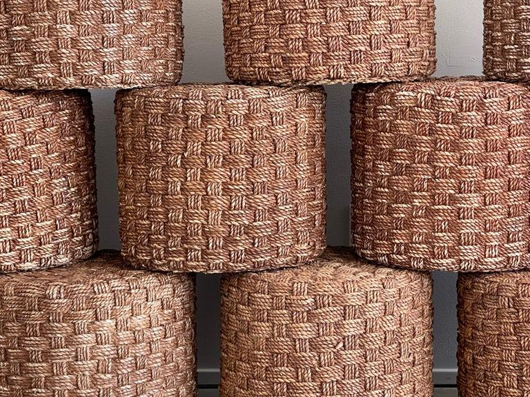 French Audoux Minet Style Rope Stools For Sale